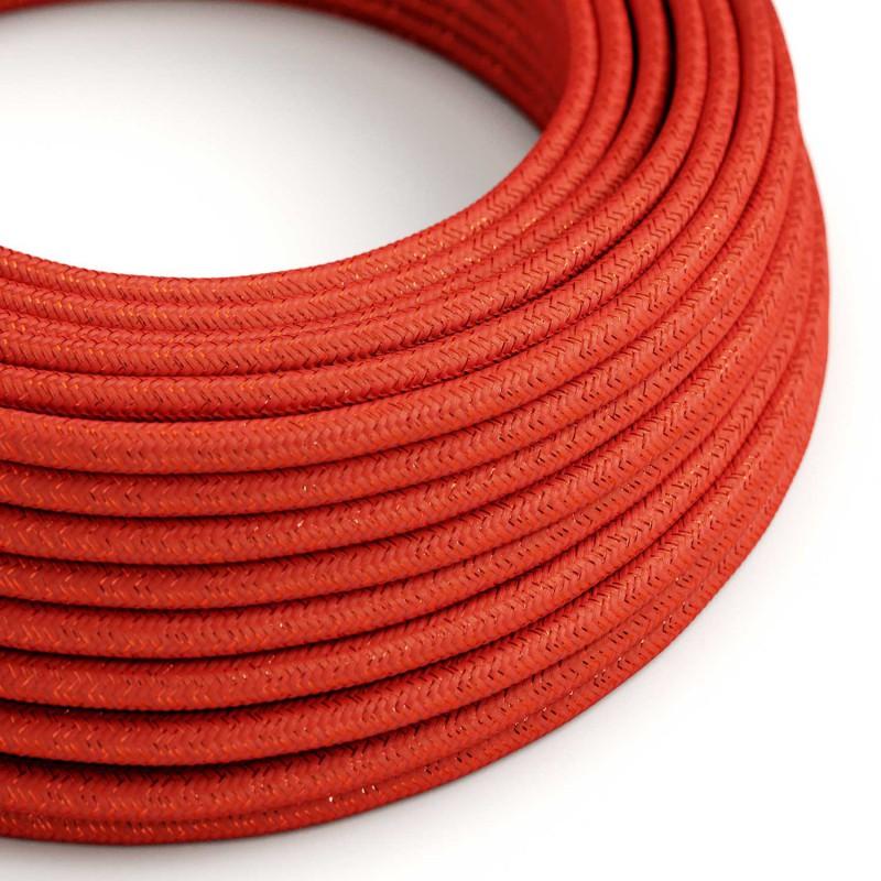 Kábel s trblietavým povrchom, Umelý hodváb, Červená farba, 2 x 0.75mm, 1 meter-