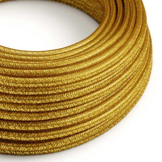 Kábel s trblietavým povrchom, Umelý hodváb, Zlatá farba, 2 x 0.75mm, 1 meter