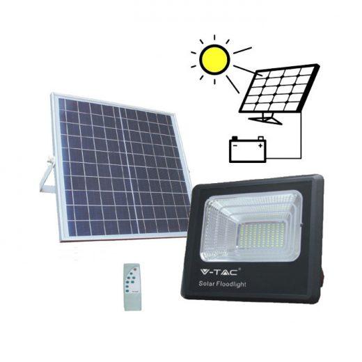 LED Solárny reflektor s 20W solárnym panelom, Denná biela, 1650lm