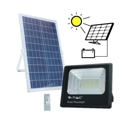 LED Solárny reflektor s 40W solárnym panelom, Denná biela, 3100lm