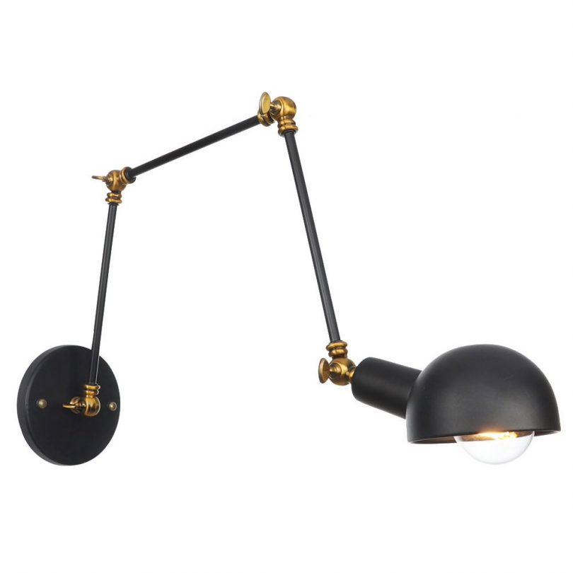 Historické nástenné svietidlo Black s nastaviteľným ramenom v čierno zlatej farbe,