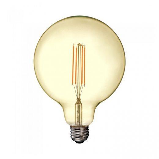 FILAMENT žiarovka - G125 GOLD - E27, 12.5W, 1240lm, Teplá biela.