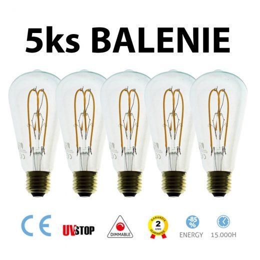 LED žiarovka - TEARDROP - 5W, 280lm, E27, Stmievateľná, 2200K – BALENIE 5 KUSOV