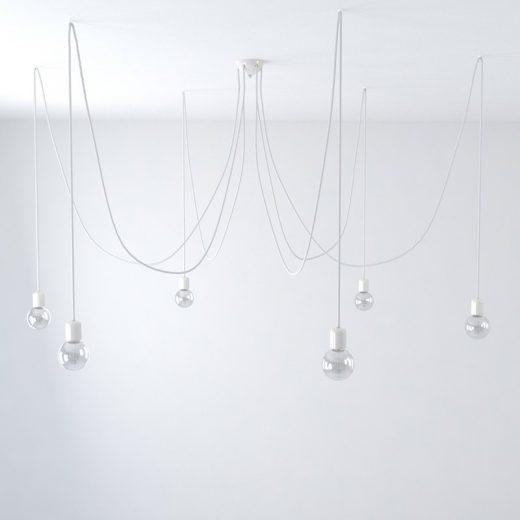 Závesné keramické svietidlo pavúk so 6 päticami v bielej farbe