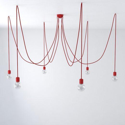 Závesné keramické svietidlo pavúk so 6 päticami v červenej farbe