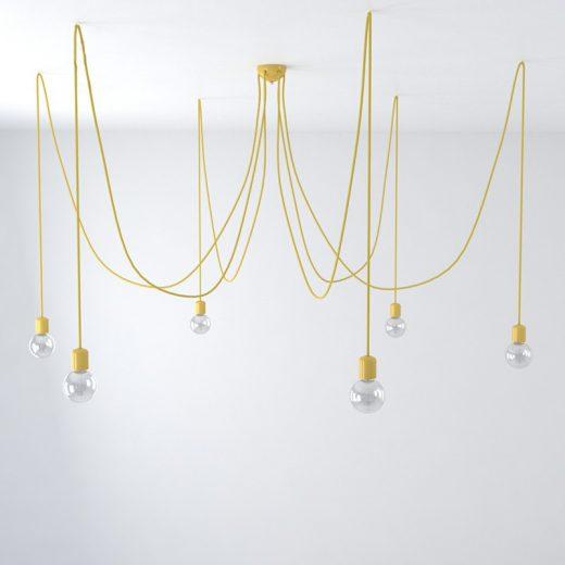 Závesné keramické svietidlo pavúk so 6 päticami v žltej farbe