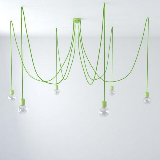 Závesné keramické svietidlo pavúk so 6 päticami v zelenej farbe