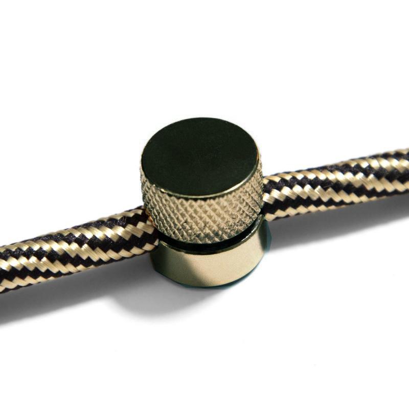 Kovová nástenná fixácia pre textilný kábel - Staromosádzna farba.