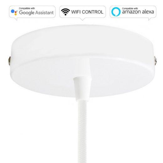 SMART WIFI Stropná rozeta kompatibilná s hlasovými asistentmi Google Home a Amazon Alexa, biela