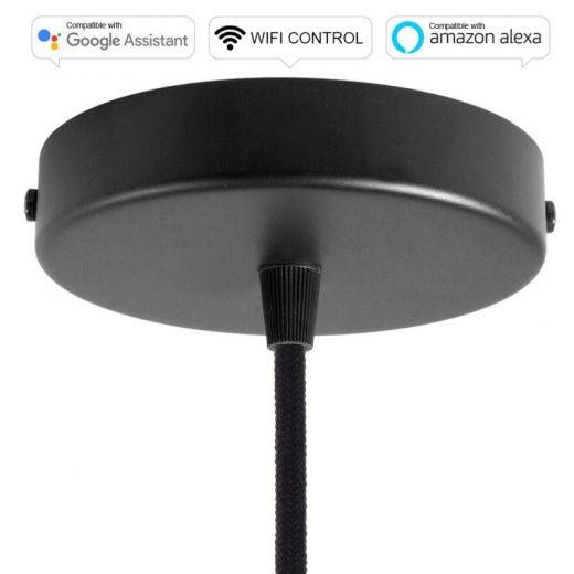 SMART WIFI Stropná rozeta kompatibilná s hlasovými asistentmi Google Home a Amazon Alexa, čierna