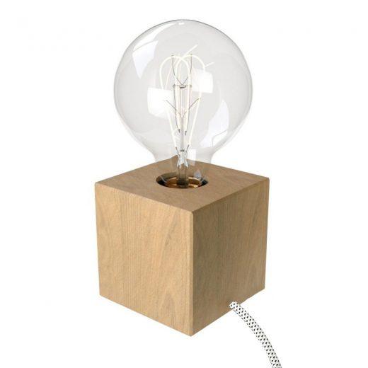 Stolová drevená lampa Cube z prírodného dreva s textilným káblom Bianco:Nero
