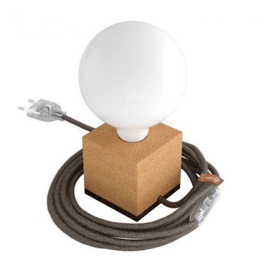 Stolová drevená lampa MoCo z prírodného korku s textilným káblom v Marrone farbe