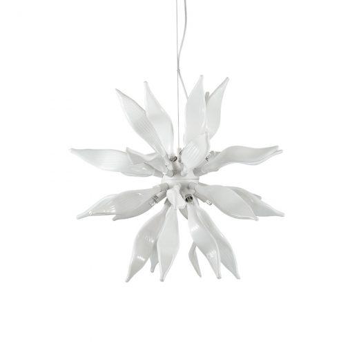 Luxusný sklenený luster LEAVES SP8 v bielej farbe | Ideal Lux