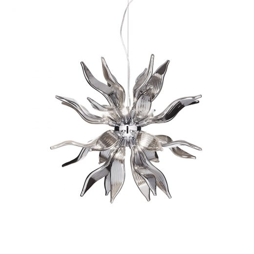 Luxusný sklenený luster LEAVES SP8 v dymovej farbe | Ideal Lux